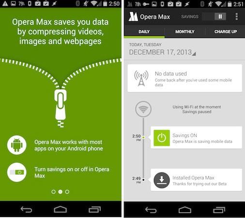 Opera Max сжимает весь трафик на смартфоне