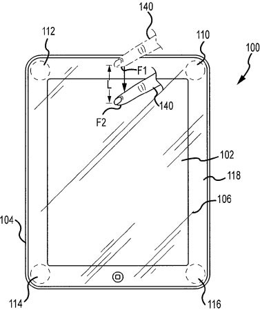 Apple патентует сенсорную рамку вокруг экрана планшета