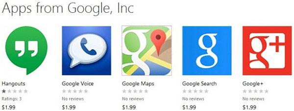 В магазине приложений Windows Phone появились поддельные апплеты Google