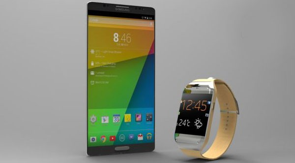 Концепт Samsung Galaxy Gear 2 совместно с Galaxy S5