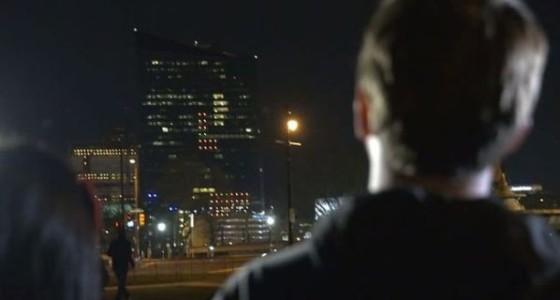 В «Тетрис» поиграли прямо на небоскребе