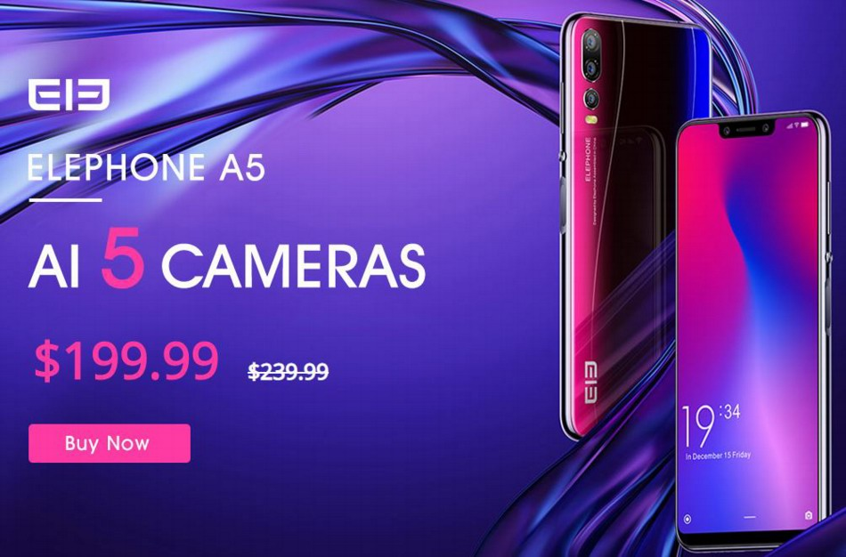 Elephone A5 – смартфон с пятью встроенными камерами в магазине GearBest